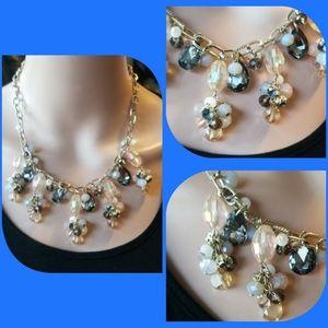 LOFT irredecent sparkle crystal cluster necklace